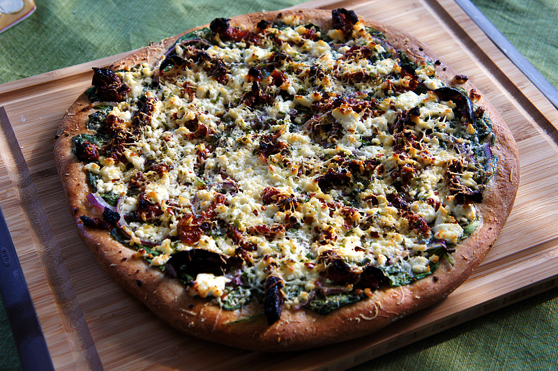 Three Cheese and Sun-Dried Tomato Pizza