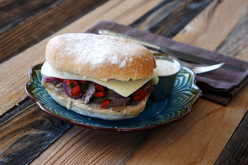 Roasted Red Pepper and Steak Sandwiches