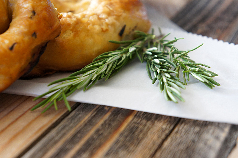 Rosemary Pretzels with Rosemary Cheddar Sauce
