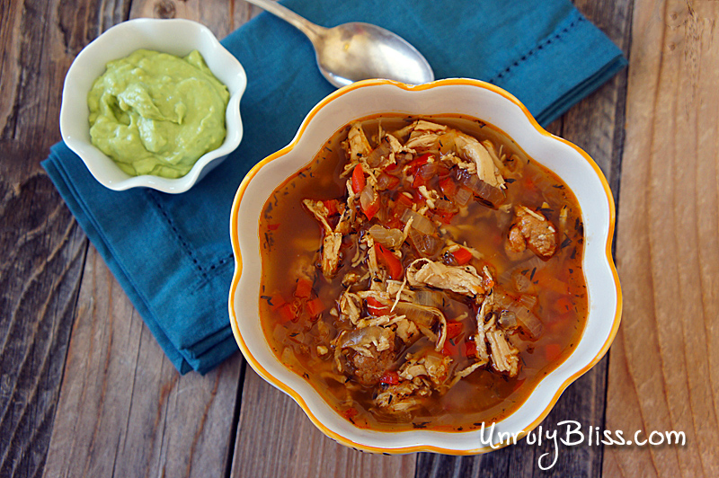 Chorizo and Chicken Stew with Avocado Crema from UnrulyBliss.com