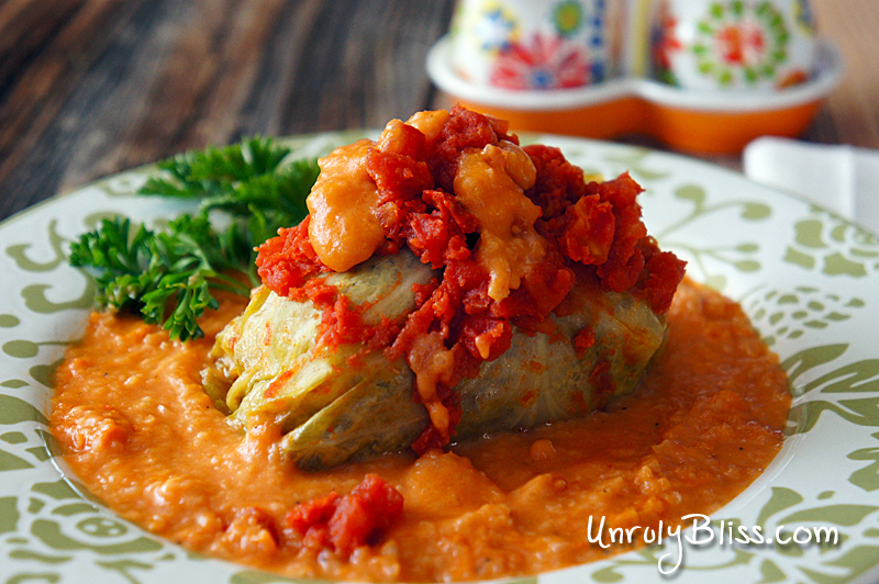 Cabbage Rolls with Creamy Tomato Sauce from UnrulyBliss.com