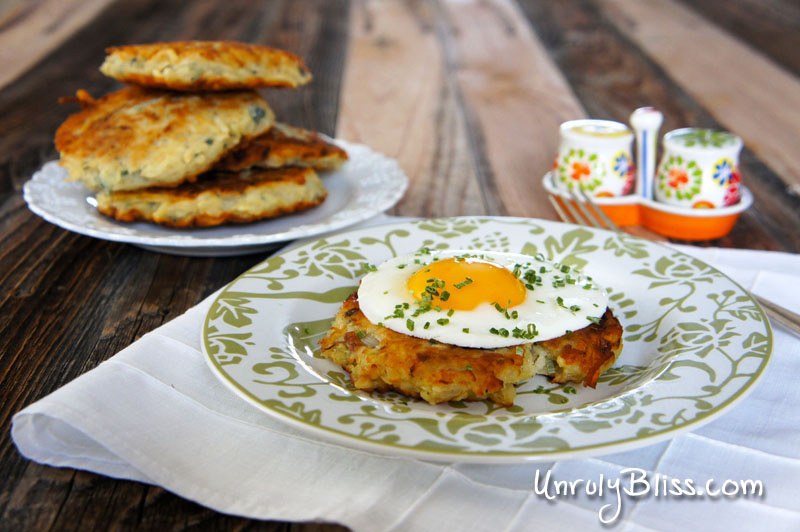 Fried Eggs & Potato Pancakes from UnrulyBliss.com