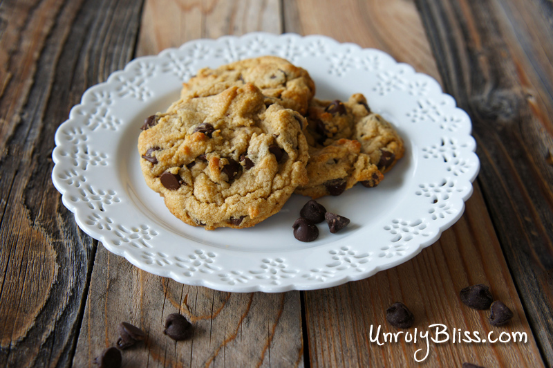 Chewy Peanut Butter Chocolate Chip Cookies from UnrulyBliss.com