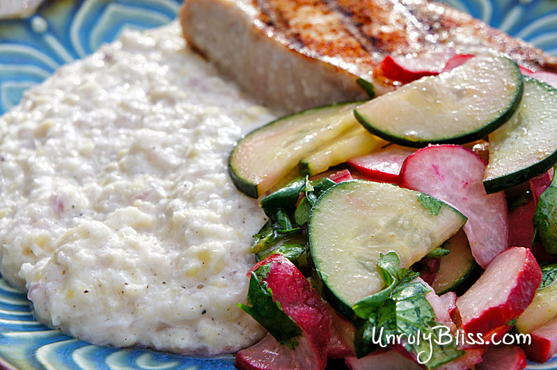 Pork Chops and Cotija Corn Puree With Radish, Cucumber, and Lime Salad from UnrulyBliss.com