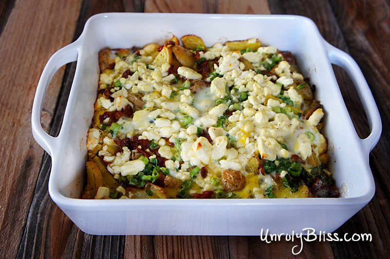 Potato Frittata with Feta and Scallions from UnrulyBliss.com