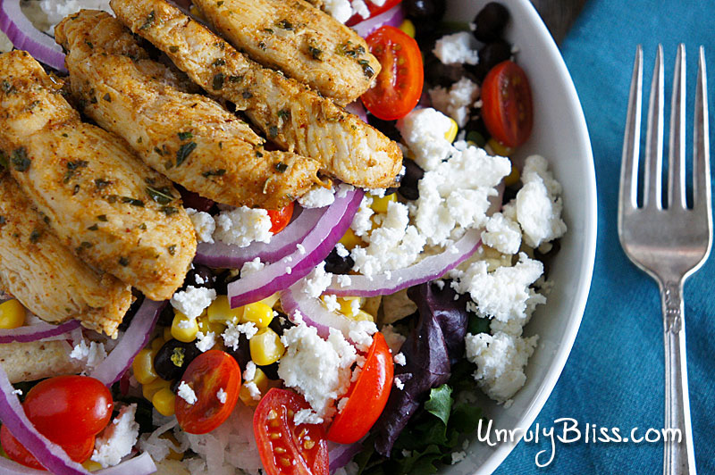 Mexican Salad with Chicken and Creamy Lime-Avocado Dressing