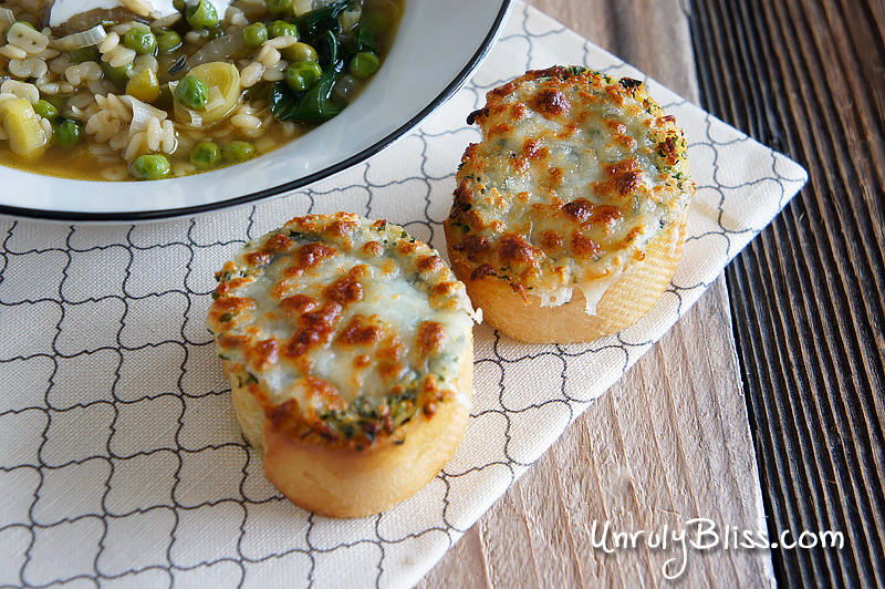 Spring Onion Noodle Soup with Lemon Sour Cream and Herbed Cheese Toast from UnrulyBliss.com
