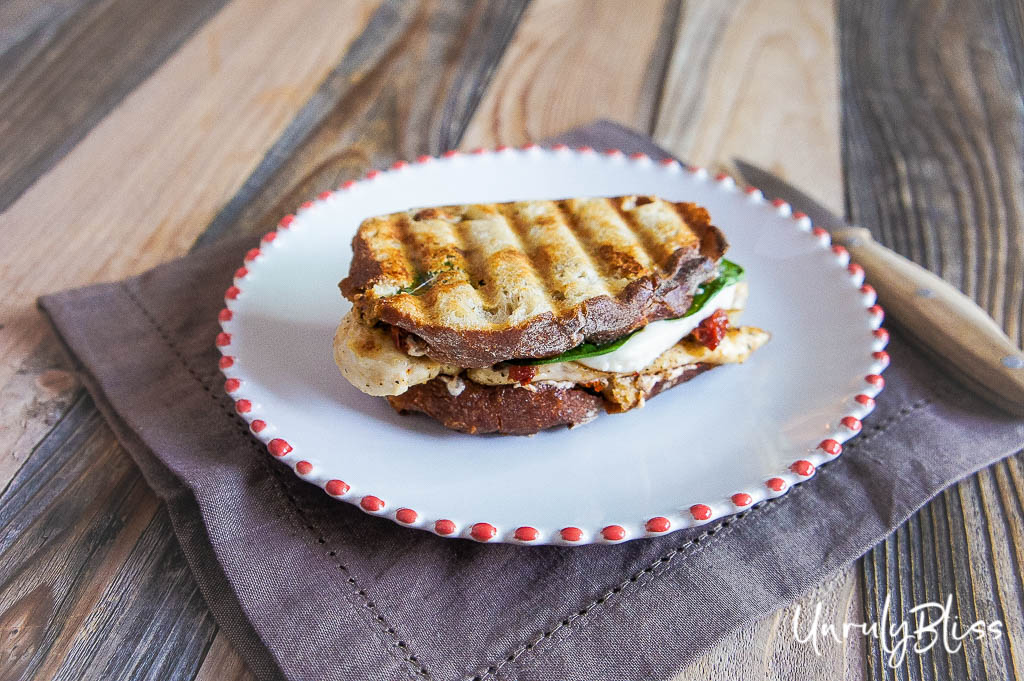 Chicken Panini with Caramelized Shallots, Mozzarella, and Sun-Dried Tomato Spread + a GIVEAWAY!