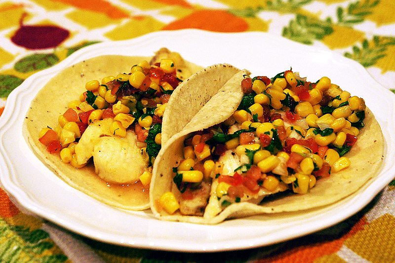 Fish Tacos with Corn and Tomato Salsa