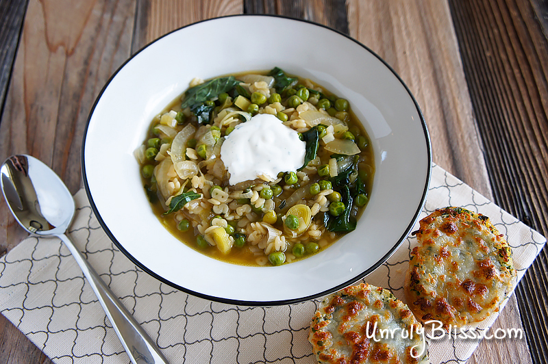 Spring Onion Noodle Soup with Lemon Sour Cream and Herbed Cheese Toast